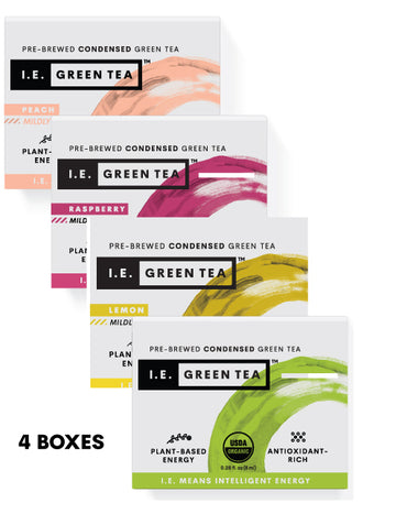 Caffeinated 4 Box Variety Bundle - Green, Peach, Lemon, & Raspberry(8 servings per box)