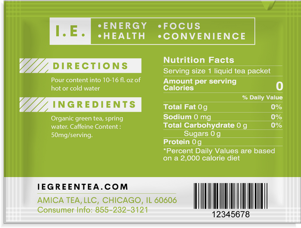 Pure organic tea nutrition information IE green teas