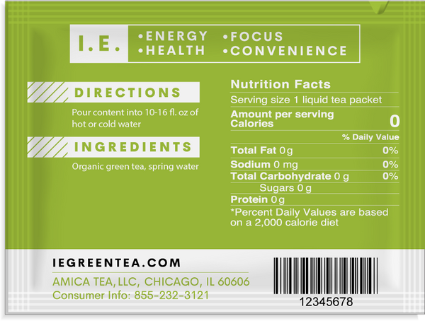Decaffeinated green tea organic pure instant green tea packets