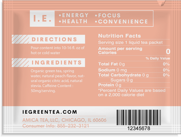 Caffeinated green tea with peach organic nutrition facts