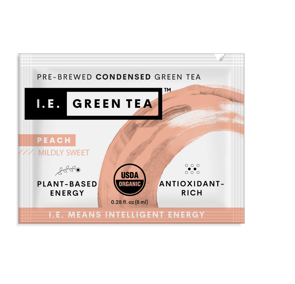 Caffeinated green tea with peach instant green tea packets
