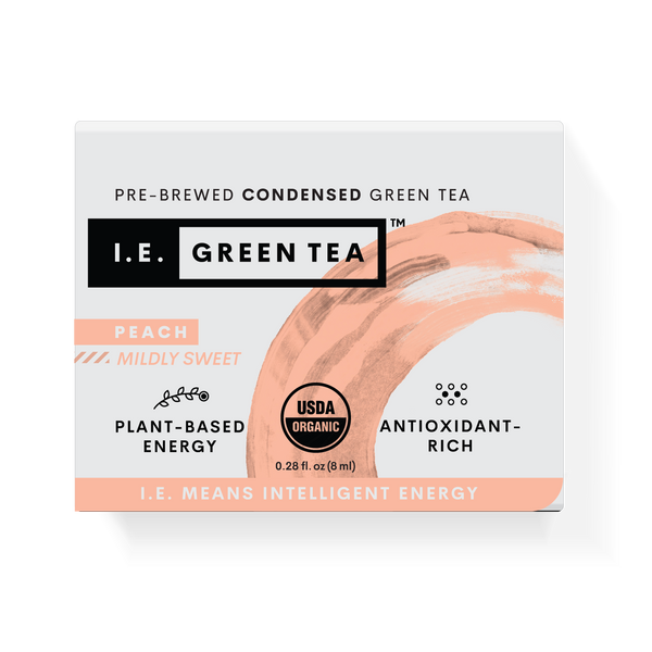 High antioxidant green tea with peach caffeinated