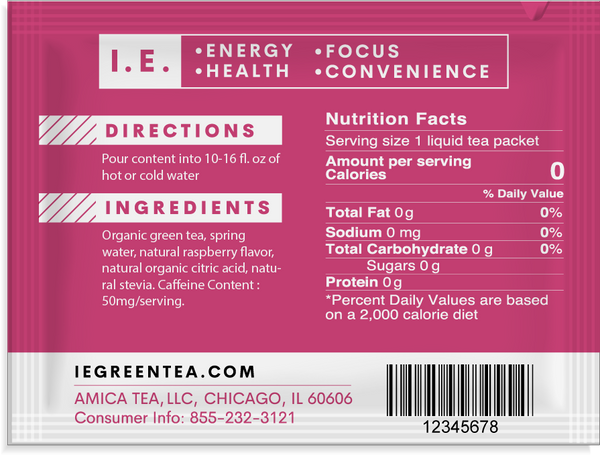 Caffeinated pure organic raspberry green tea nutrition facts