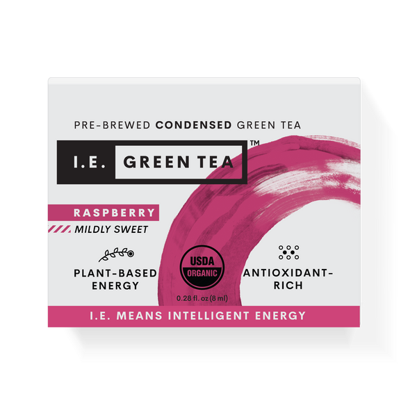 Caffeinated raspberry green tea packets