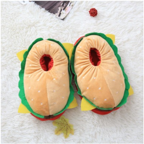 Cotton hamburger slippers, Funny cute slippers Soft bottom. Meme birthday gift for her