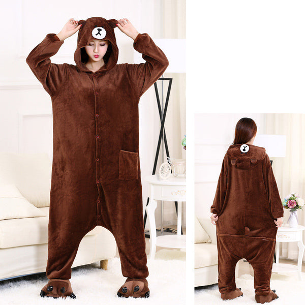 Animal Pajamas For Men And Women Couples Flannel Thickened One Piece Pajamas