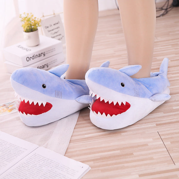 Cartoon shark cotton slippers, Funny Cute Slippers - Cosy meme Slippers Home Shows funny gift