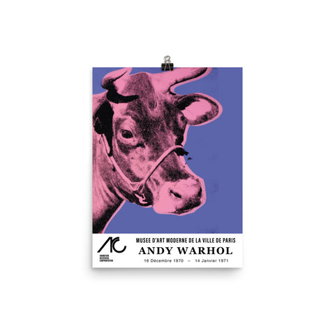 "Andy Warhol, Reprint Exhibition Poster, 1971, Musee de L'Art Paris, ""Cow"". Modern Pop Art Print. Pink - Purple"