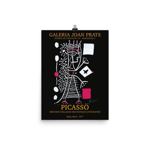 Pablo Picasso, Reprint Exhibition Poster, 1977, Vintage Fine Art Print, Wall Photo Decor, Galeria Joan Prats Barcelona