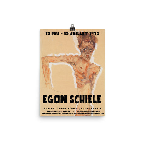 Egon Schiele, Museum Exhibition Poster, 1970, Art Print Wall Decor, Fine Art Gift - Expressionism Poster Print