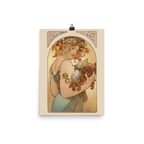 "Alphonse Mucha, 1897, Exhibition Poster, ""Fruit"", Vintage Art Print Wall Decor, Fine Wall Art Gift"