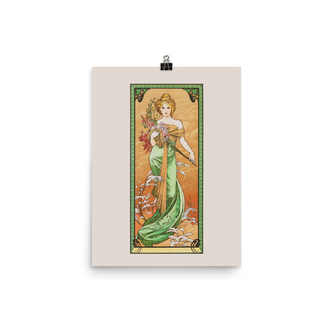 "Alphonse Mucha, Lithograph,  1900, Exhibition Poster, ""Season Spring"", Vintage Art Print Wall Decor, Fine Wall Art Gift"