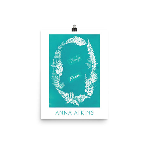 "Anna Atkins, Exhibition Poster by Anna Atkins - ""Foreign Ferns, green"", Vintage Art Print Wall Decor, Fine Wall Art Gift."