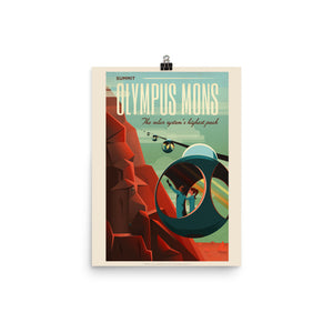 "Fictional Mars, Tourism Poster commissioned by SpaceX ""Olympus Mons"". Space lovers gift - Sci fi poster print"