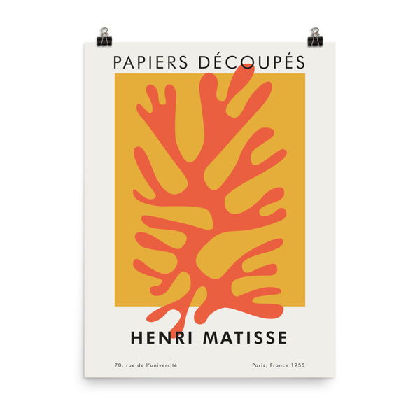 "Henri Matisse, Artwork, Vintage France Exhibition Poster - ""Papier Decoupes"". Abstract Print Wall art Decor."