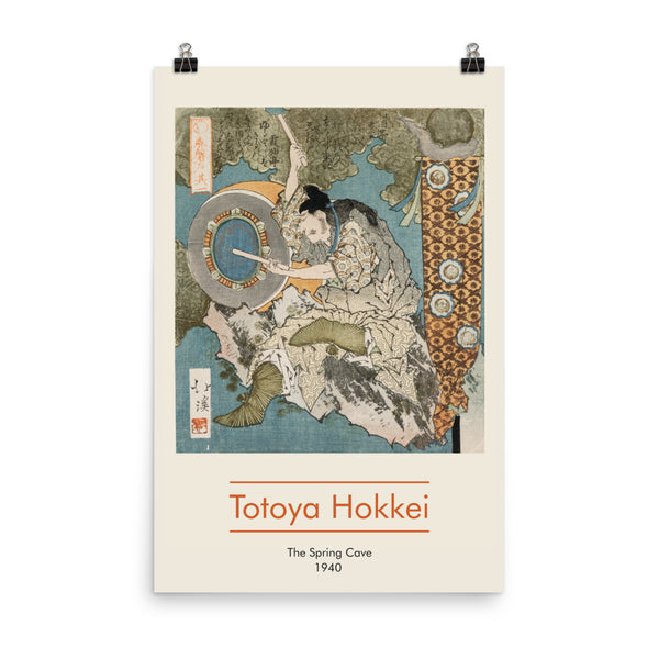 "Totoya Hokkei, 1940, Exhibition Poster, ""The Spring Cave"", Vintage Art Print Wall Decor, Fine Wall Art Gift."