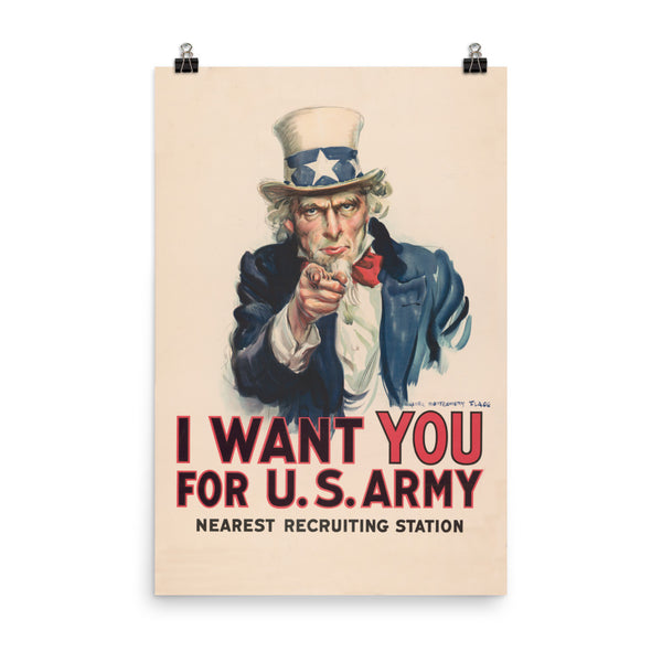 I want You for U.S. Army, Recruitment Poster. Vintage Art Print Wall Decor, Fine Wall Art Gift Pop art print