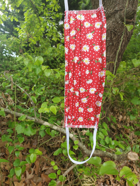 Red Daisy, Reusable Cloth Mask