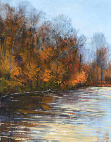 The Pond in Autumn - Original Painting, 11x14 in.