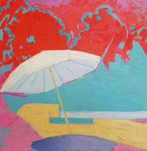 Beach View- Red Sky - Original Painting, 12x12in.