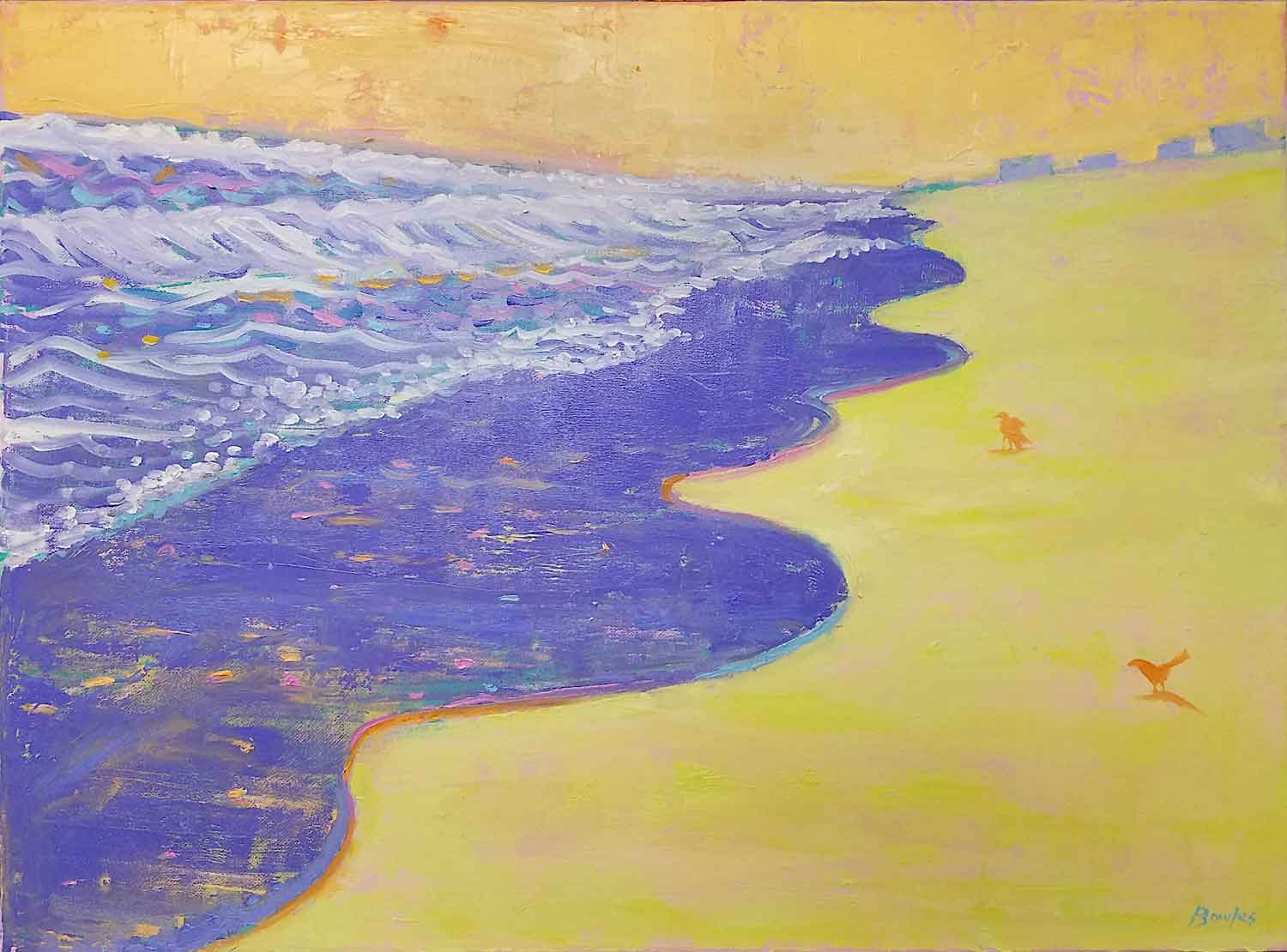 The Purple Ocean and Yellow Beach - Original Painting, 18x24in.