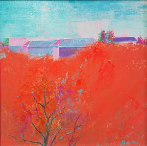 80th St. Red Azure - Original Painting, 12x12in.
