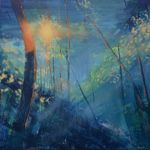 Fragile Earth-The Blue Woods - Original Painting, 24x24in.