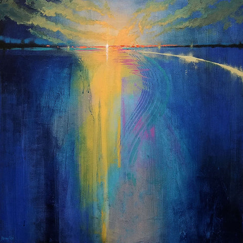Distant Sun Golden - Original Painting, 24x24in.