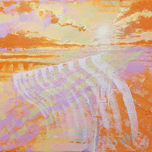Fragile Sea Sunset in Orange - Original Painting 24x24in.