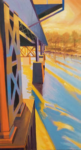 Railroad Bridge And Stripes - Original Painting, 20x36in.