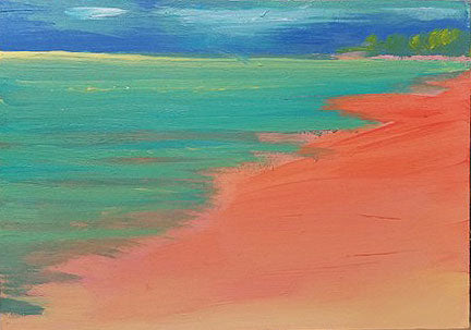 The Red Beach - Original Painting, 5x7in.