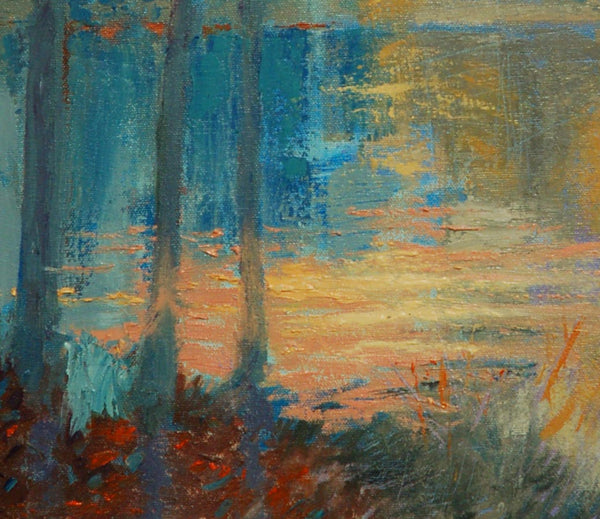 Warm Light On Pond NC - Original Painting, 16x20 in.
