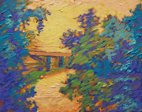 Aylett Bridge in Orange and Blue- Original Painting, 8x10in.
