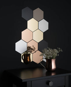 3D MIRROR HEXAGON VINYL BEAUTIFUL WALL STICKER - LARGE SIZE