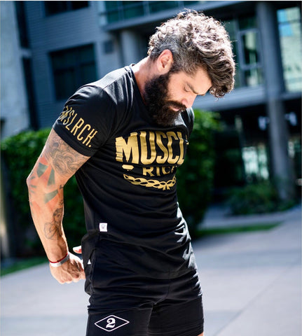 LVXX SWISH TEE (Gold/Black) - MUSCLERICH ATHLETICS