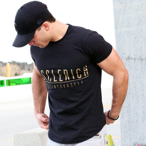 VICTORY V3 Men's Tee (Black/Gold) - MUSCLERICH ATHLETICS