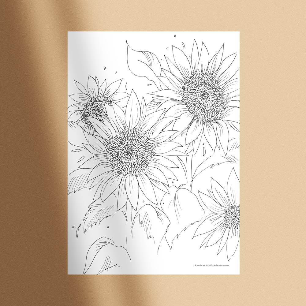 'Sunflowers' Colouring-in Template