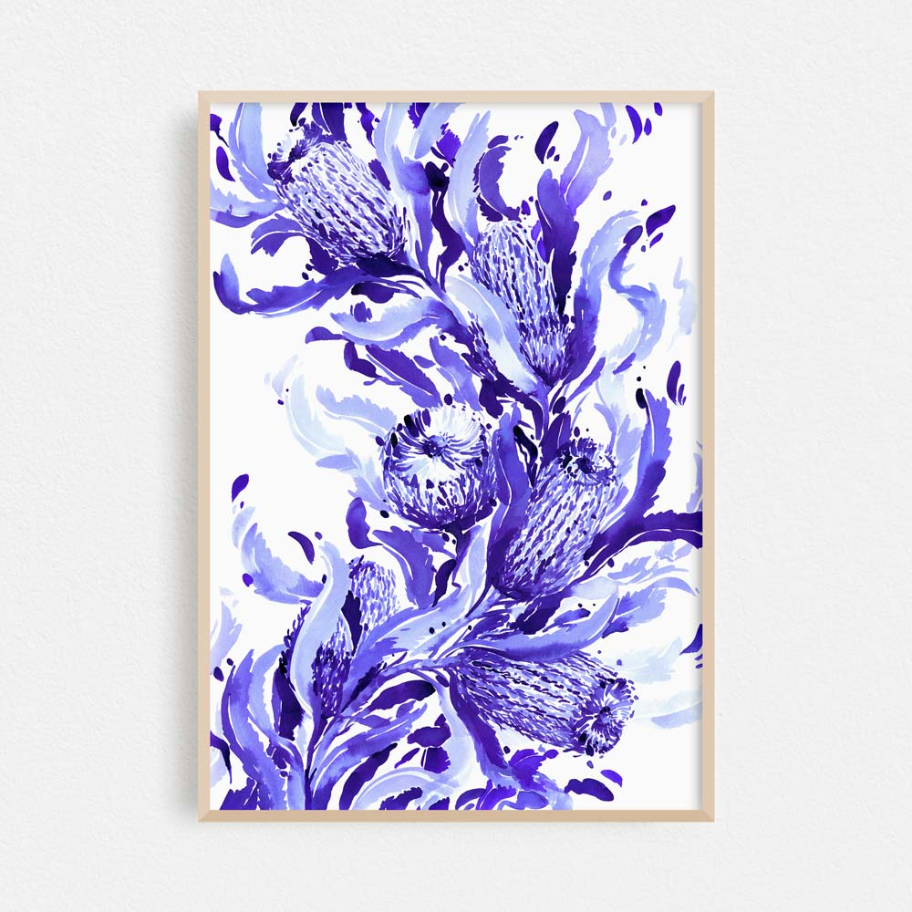 'Firewood Banksia in Blue' Limited Edition Print