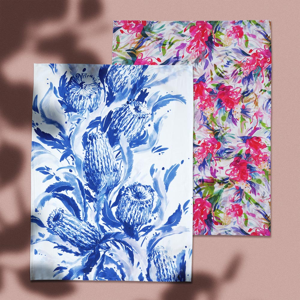 'Banksia Blues & Full Bloom' Tea Towel Gift Set