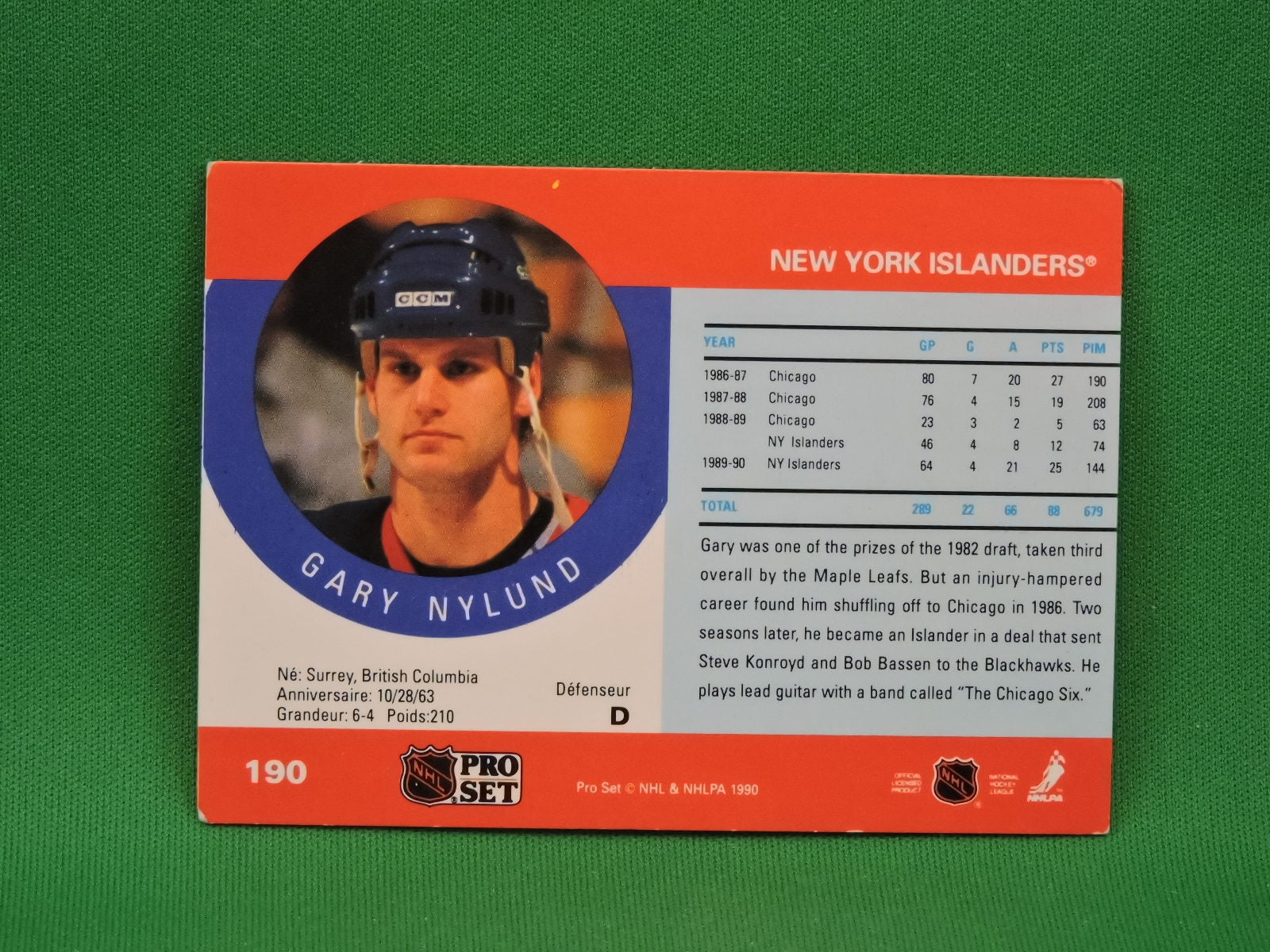 collector cards  1990  pro set  190  gary nylund