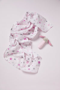 Muslin Wrap and Crinkle Toy gift set Pink Bunny