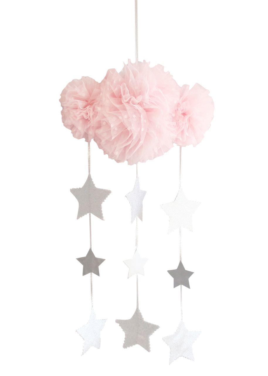 Tulle Cloud Mobile -Pale Pink & Silver