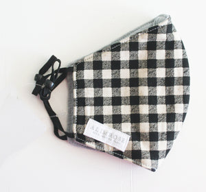 3 Layer Fabric Face Mask - Adult Black and White Check