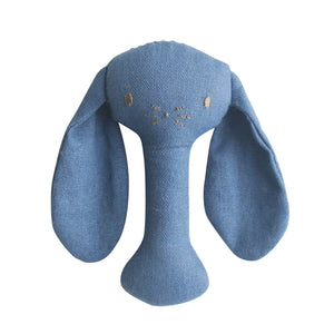 Bobby Bunny Stick Rattle in Chambray Linen by Alimrose