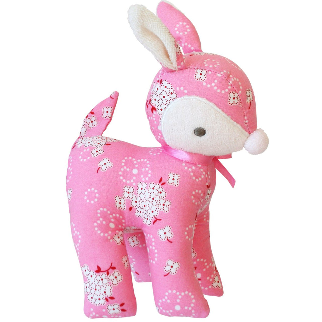 Baby Deer Rattle in Pink Daisy