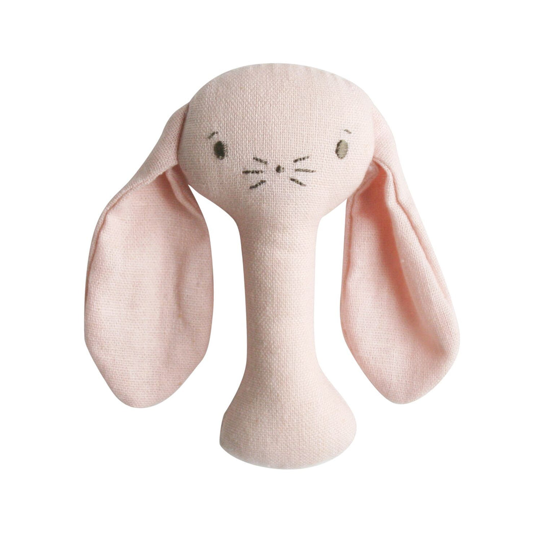 Bobby Bunny Stick Rattle in pink Linen by Alimrose