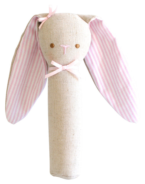 Bunny Rattle with squeaker linen pink from Alimrose