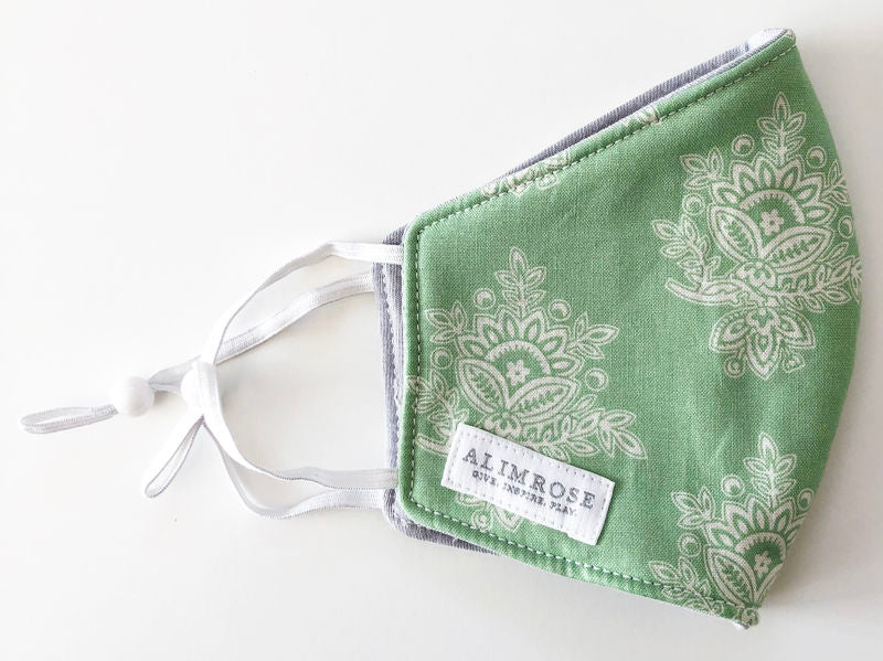 3 Layer Face Mask - Adult Green Print