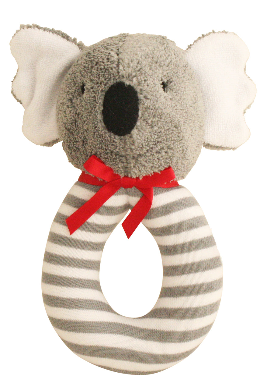 Koala Grab Rattle in Grey Stripe by Alimrose