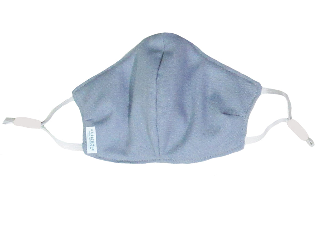 3 Layer Face Mask - Adult Blue Grey Linen